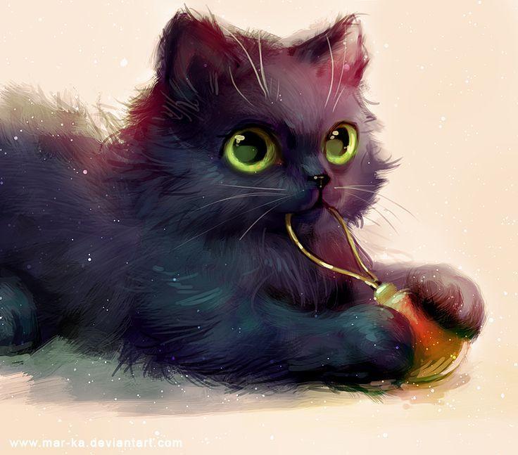 Anime Cat Black Green Eyes Ornament Black Cat Art Cat Art Cute Drawings