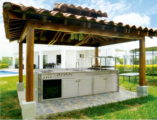 Asador a carbon en acero inoxidable con accesorios para for Jardines modernos minimalistas