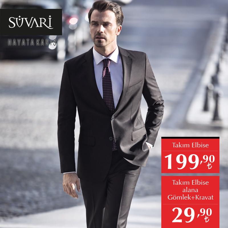 18777300a53ab Şık ve stil sahibi olmanın ekonomik yolu Süvari'de. Takım elbise 199,90 TL. Takım  elbise alana Gömlek + Kravat 29,90 TL.