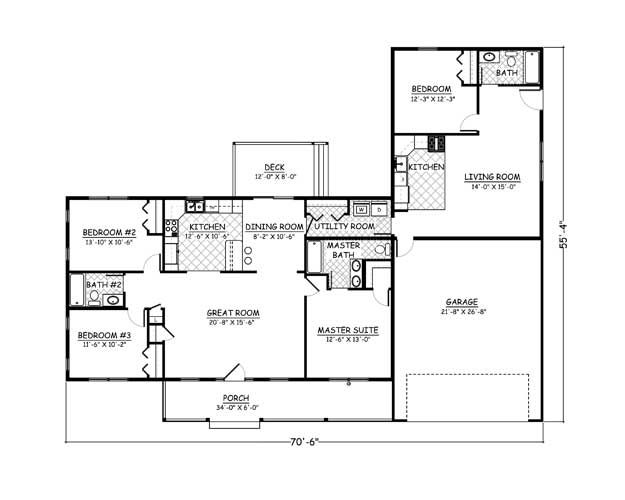 Plan 960 4 Bedroom 3 Bath 1961 Sqft Mother Daughter Diy House Plans Free House Plans Floor Plans