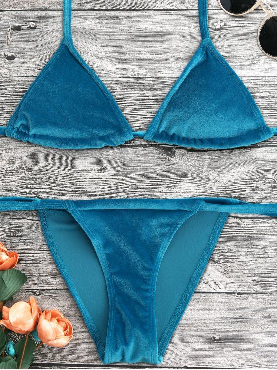 726c2a0914869 AD : Halter Velvet Thong Bikini Set - PEACOCK BLUE A cute shiny velvet  bathing suit features plunging collar self tie bikini top and tie side  string swim ...