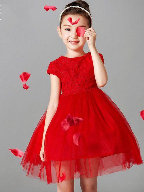 fd94a5b9d Exquisite Lace Round Collar Short Sleeves Voile Bubble Dress