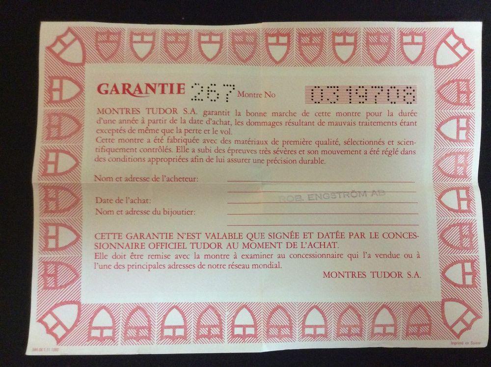 TUDOR VINTAGE  Certificate Guarantee paper 94500 year 1990 free shipping  #TUDOR