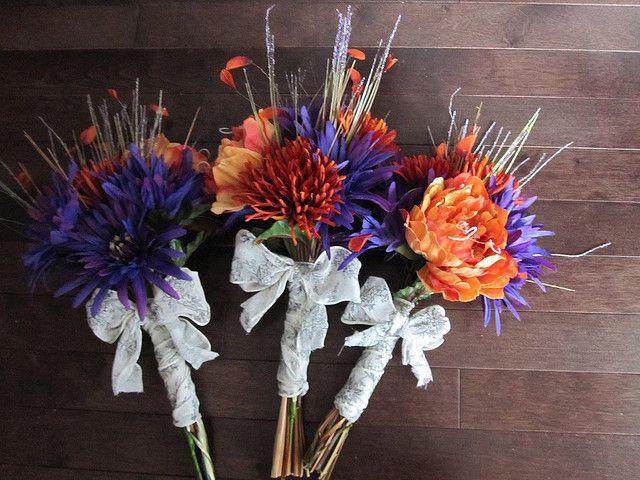 Purple and Orange Wedding Bouquets   Flickr - Photo Sharing!
