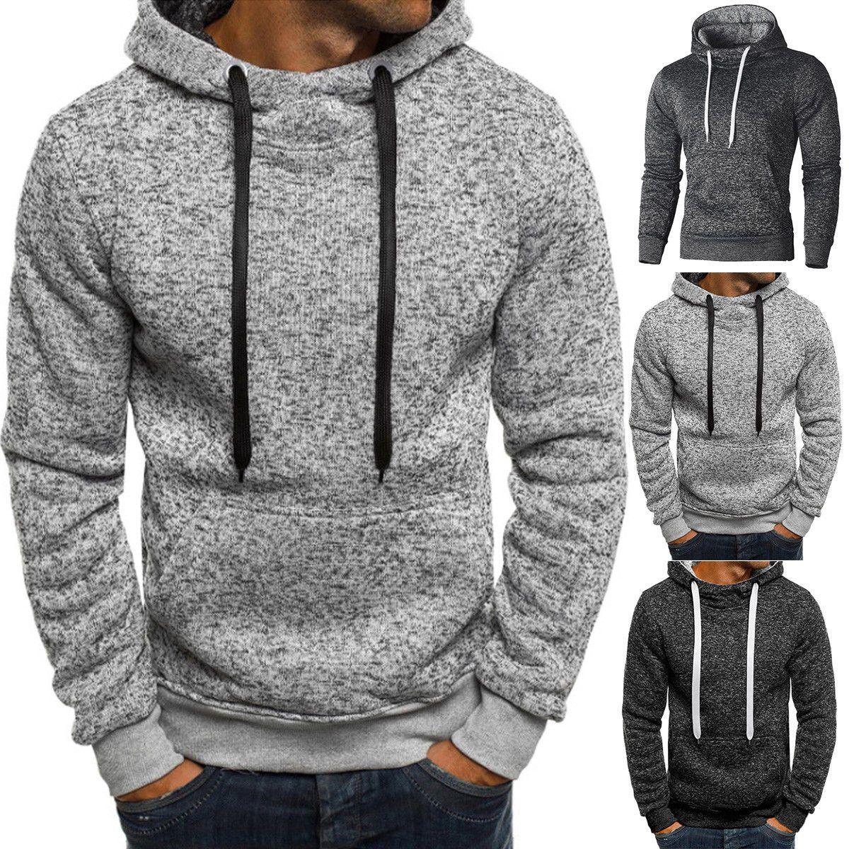 Men/'s Winter Slim Zip Hoodies Warm Hooded Sweatshirt Coat Jacket Outwear Sweater