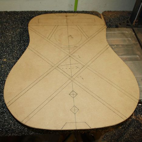 Making A Soundboard Bracing Template Saves Time Laying Out And Measuring For All The Braces This Acoustic Guitar Maki Guitar Building Acoustic Guitar Luthiery