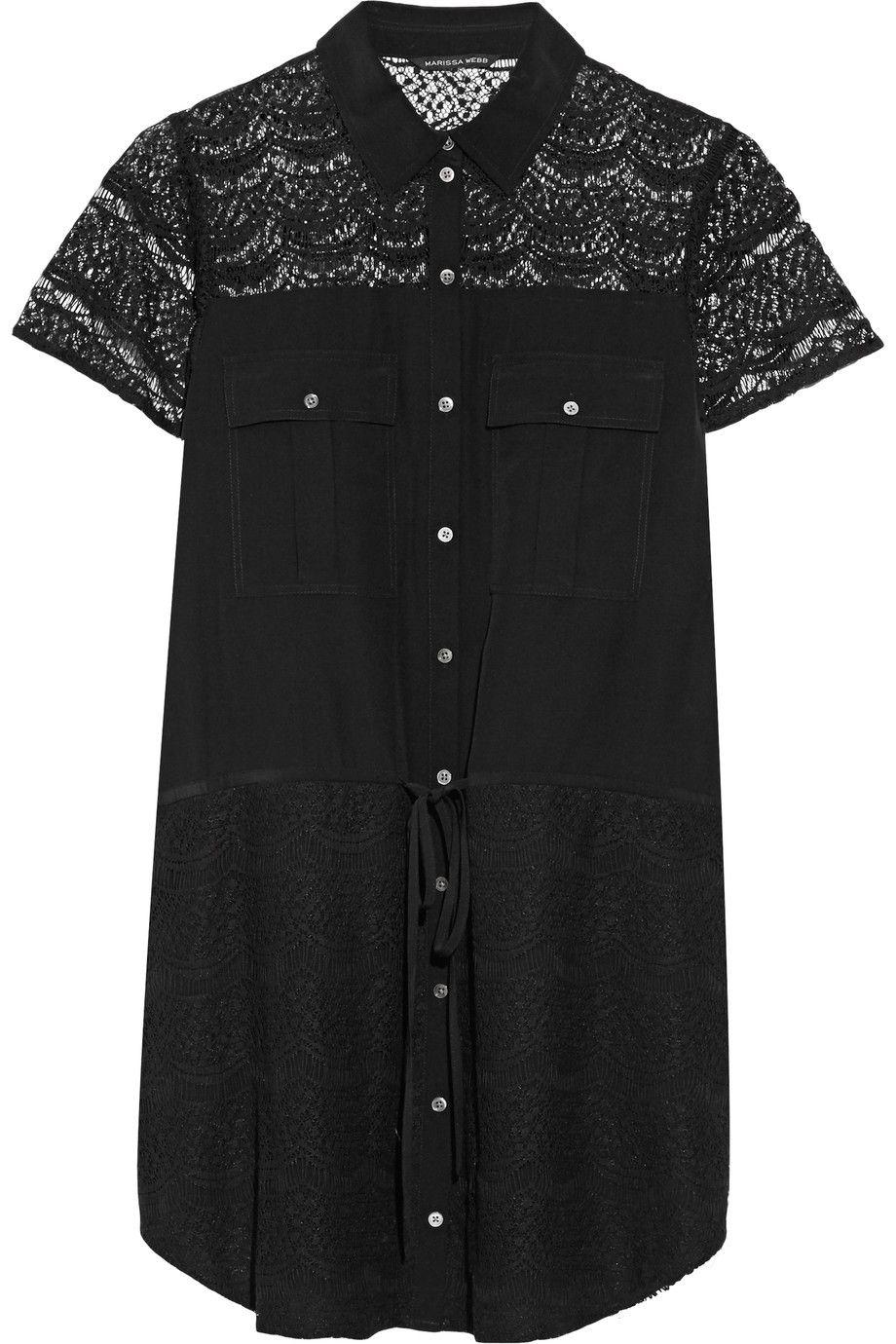 MARISSA WEBB Eda lace-paneled cotton-blend mini dress. #marissawebb #cloth #dress