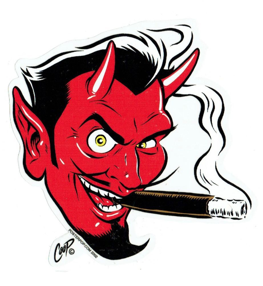 Devil: Coop Sticker Decal Devil Satan Head Kustom Kulture Hot Rod