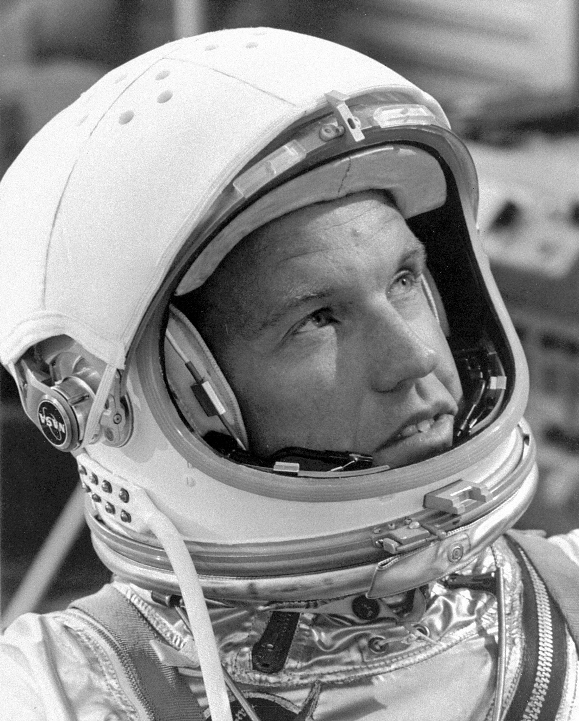 Astronaut L. Gordon Cooper in white room, waiting for Terminal ...