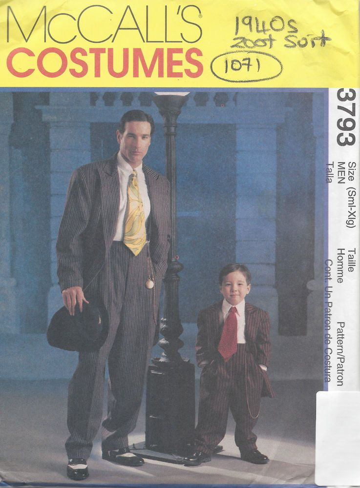 1940s Vintage Sewing Pattern C34-TO-48 MEN\'S ZOOT SUIT (1071 ...