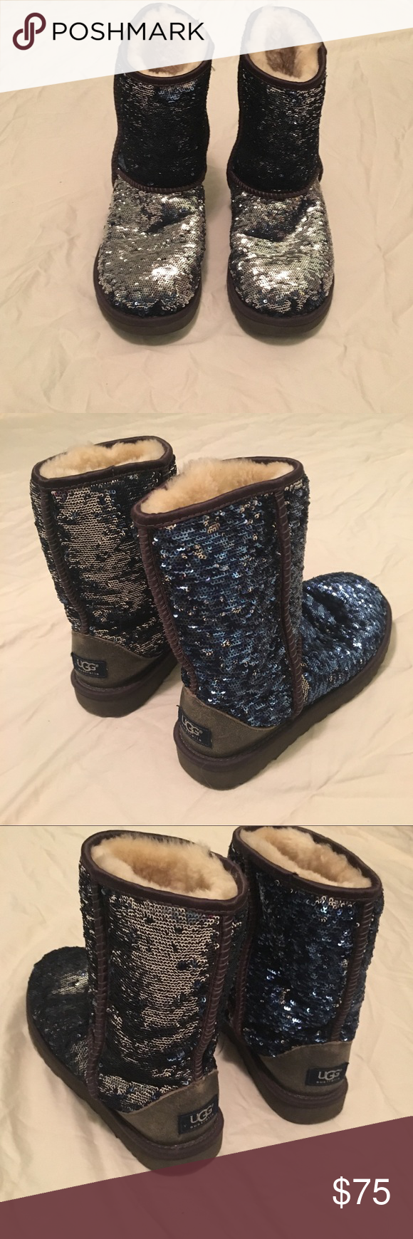 Classic sequence UGG boots These UGG boots are blue and silver sequence with brown leather detailing