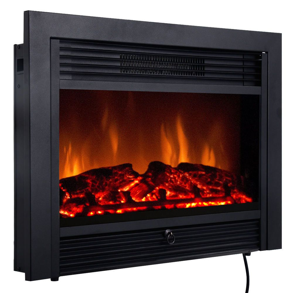 Fireplace Electric Embedded Insert Heater Glass Log Flame Remote