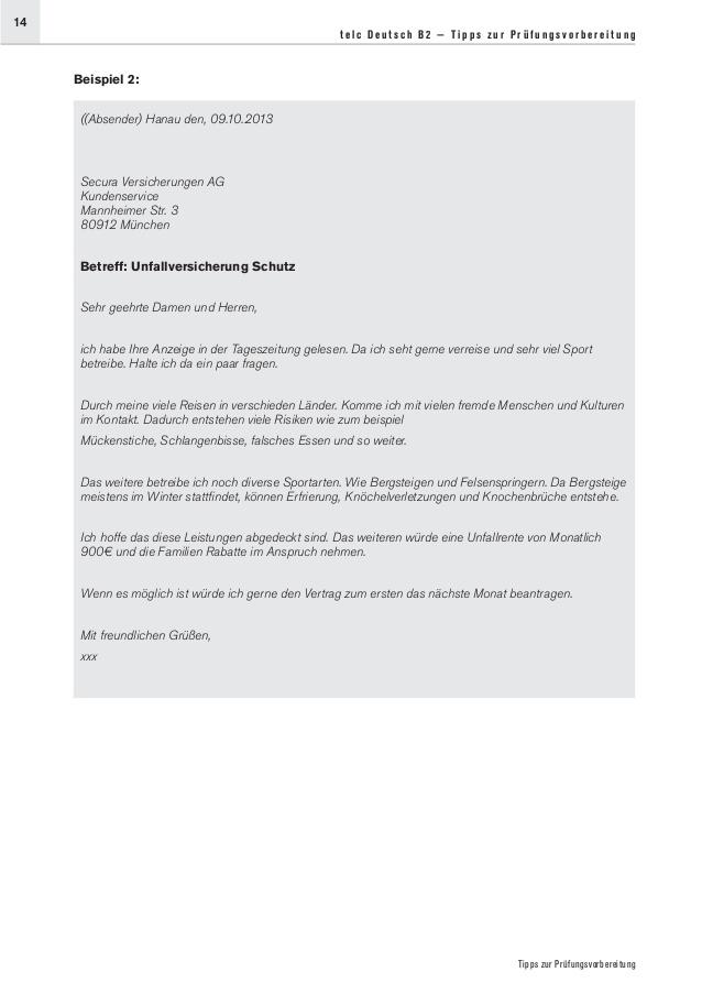 Pin Von Merve Auf Merve Brief Beispiel Lesen Unfallversicherung