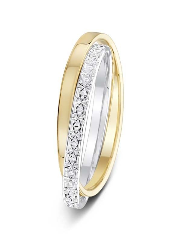 2mm twotone Russian style polished and sparkle cut wedding ring
