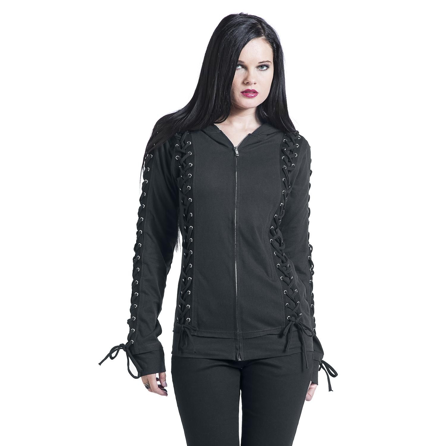 "Gothicana by EMP Hooded zip, Women ""Corded Hood"" black • EMP"