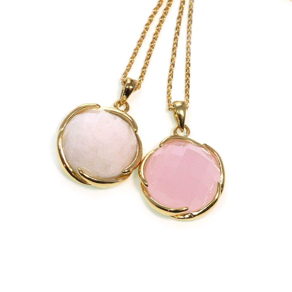 """Welcome to smart styling! This necklace with round stone pendant is an everyday addition to your outifts. Length: 16"""" with 2"""" ext. Pendant: 0.75"""" Gold-plated. #MORANA http://moranaonline.com/NECKLACES?product_id=213#sthash.2R5nGUUw.dpuf"""