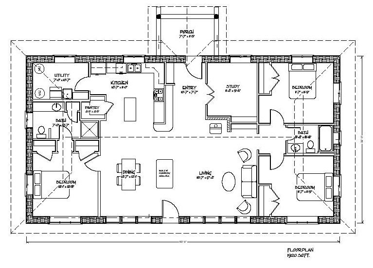 Eco Family 1900 Plan Rectangle House Plans Earth Bag Homes Floor Plans