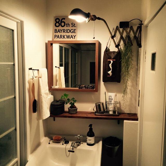 246ra_Rieさんの、玄関/入り口,観葉植物,洗面所,DIY,セリア,ティッシュケース,エアープランツ,男前,シザーランプ,COLONY 2139,のお部屋写真