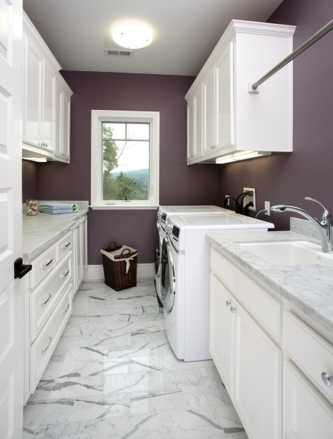 Laundry room layout not color of white floor, cabinets@ counters