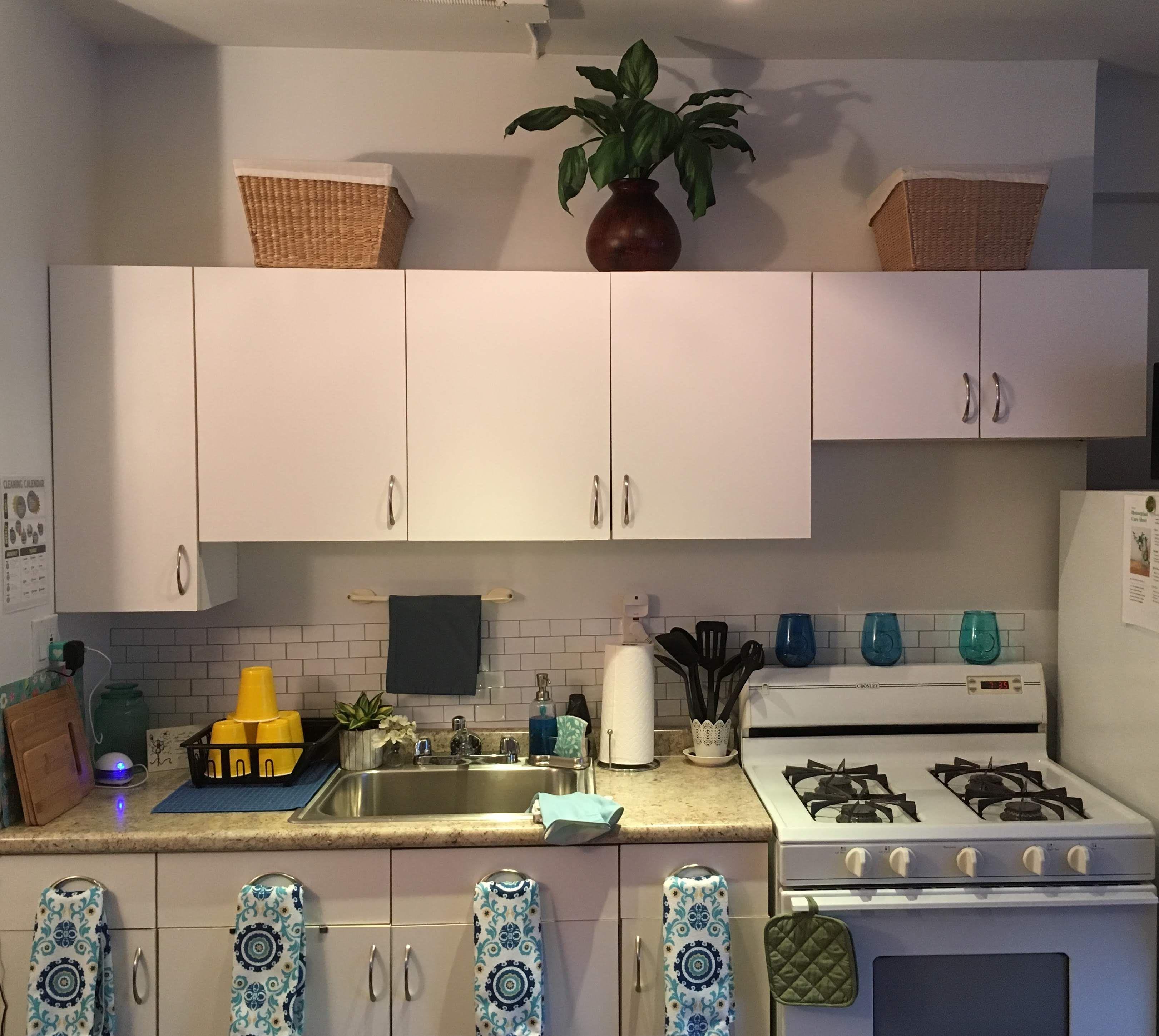 my cute, boho farmhouse studio apartment kitchenette ...