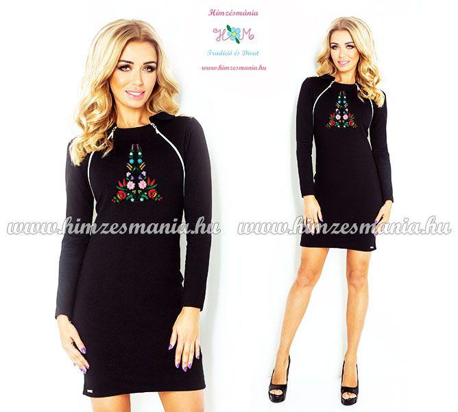 c5b7e14620 Elegáns női ruha kalocsai - hosszú ujjú - gépi hímzés - fekete ...