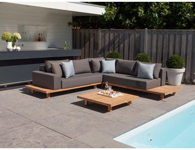 Exotan Paradiso Lounge Für Den Garten 4 Teilig Teak Nanotex Grau
