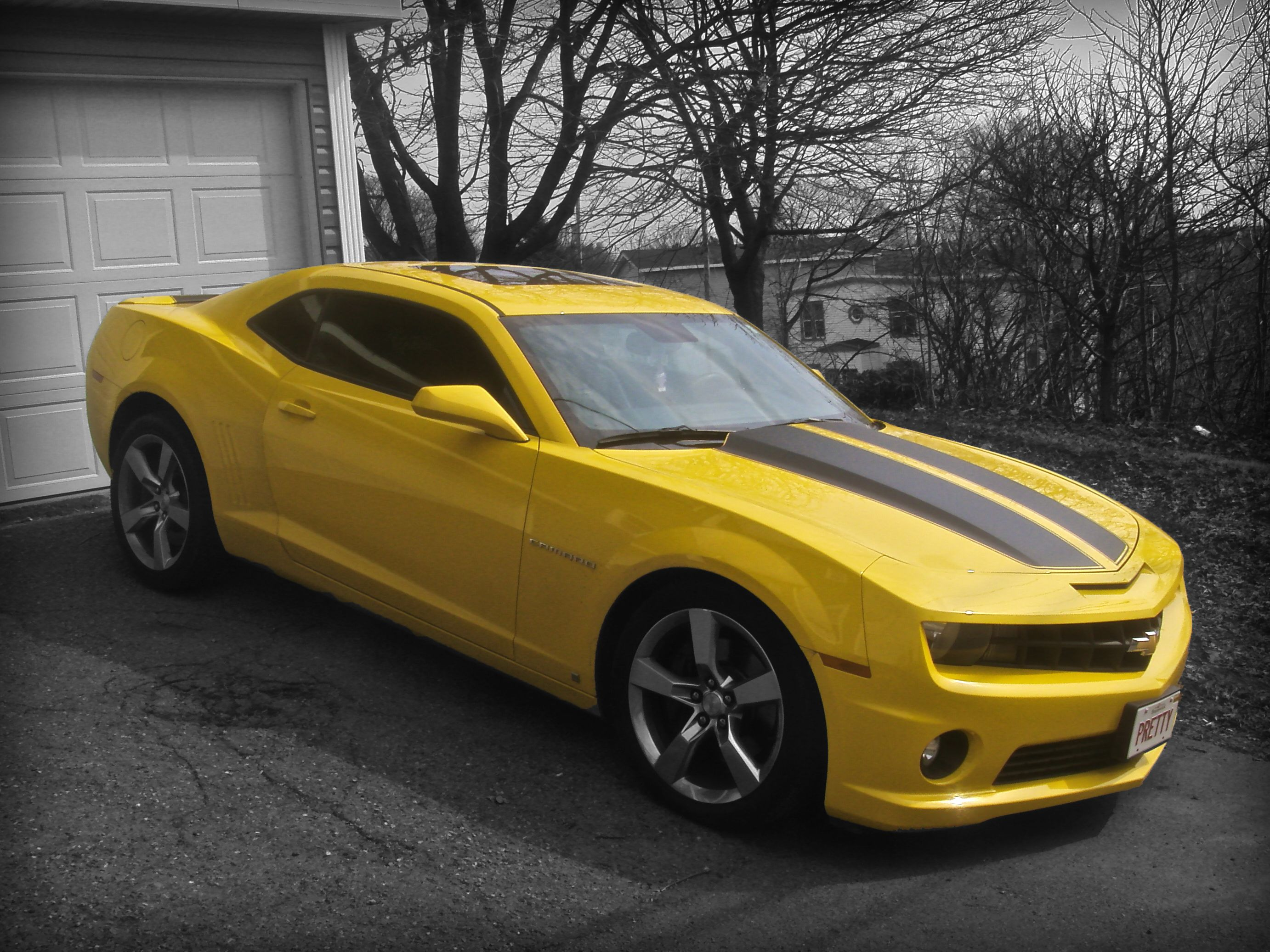 Yellow Camaro Ss with Black Rally Stripes For My Birthday Please