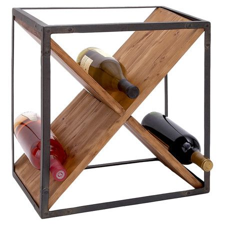 Metal Framed Wine Rack With An X Shaped Wood Center Product Rackconstruction Material And