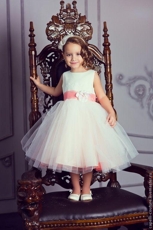 3ff0c7aeaaba463 Одежда для девочек, ручной работы. Ярмарка Мастеров - ручная работа. Купить  Пион нарядное платье для девочки. Handmade. Коралловый