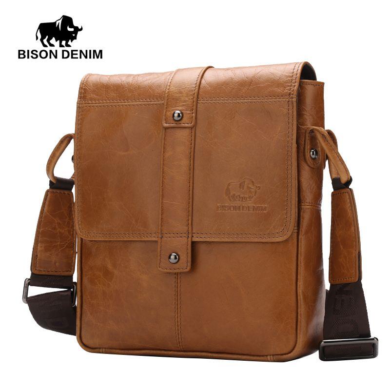342c4f364e958f BISON DENIM Men's Genuine Leather Guarantee Crossbody bag Vintage casual  Shoulder Bag Business Flip buckle travel bag W2447