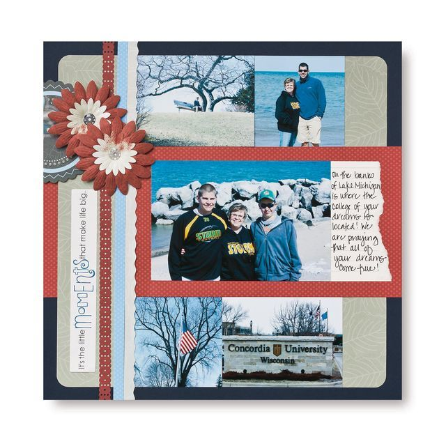 Moments Multi-Photo Scrapbook Layout Idea Page #scrapbooking  I really like this die cut ribbon!