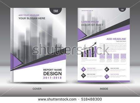 Purple Cover Annual report brochure flyer template creative design - annual report cover page template