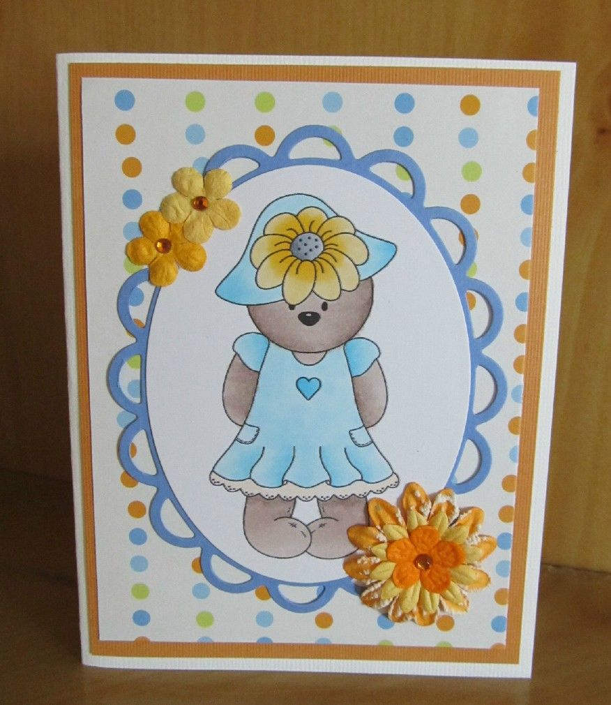 This handmade teddy bear card uses a digi stamp, colored with a copic marker.  It's so sweet and could be used for any occasion.