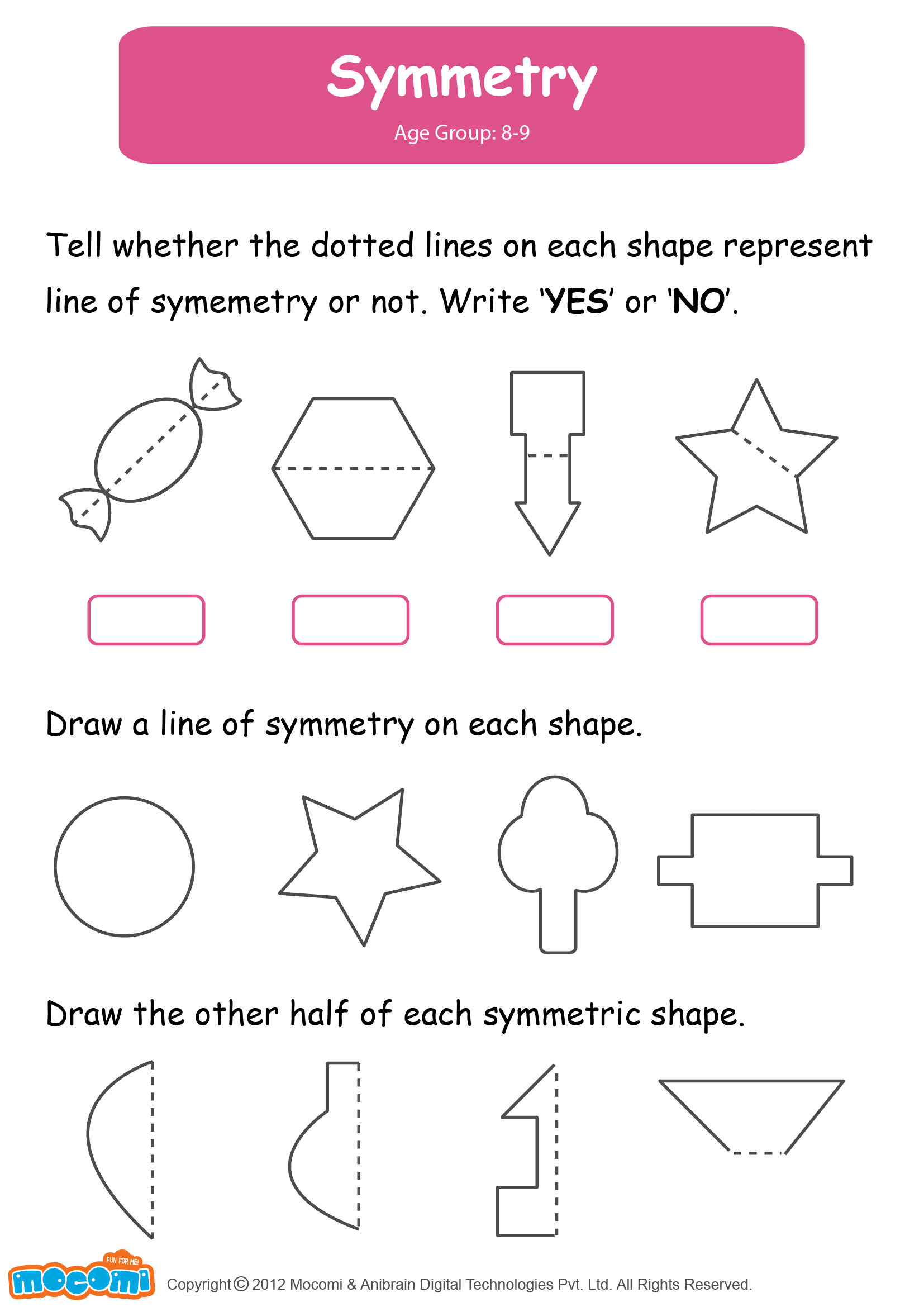 math worksheet : symmetry  math worksheet for kids for more interesting maths  : Kids Math Worksheet