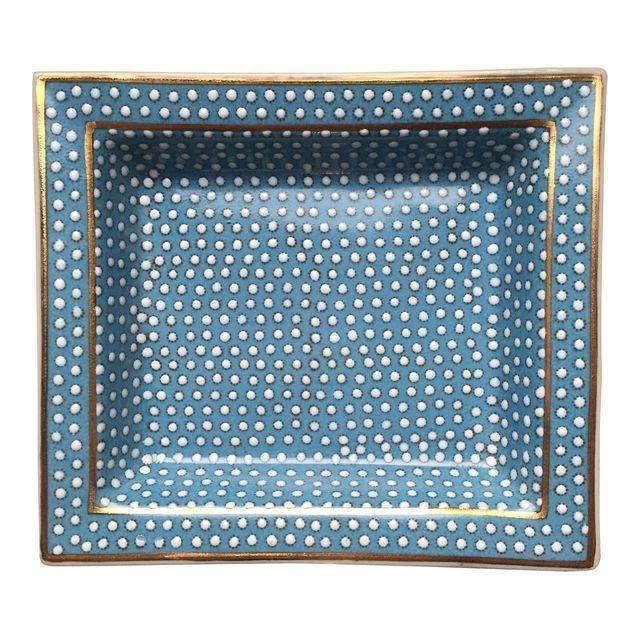 Modern Porcelain Blue Polka-Dot Catch-All Dish
