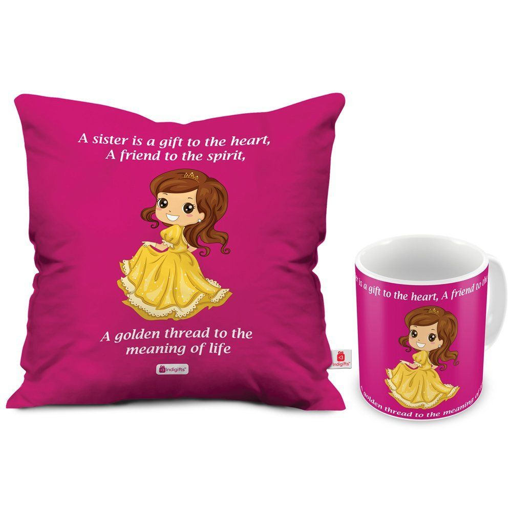 Buy Indibni My Golden Thread Of Life Printed Magenta Coffee Mug And Cushion Cover 12x12 With