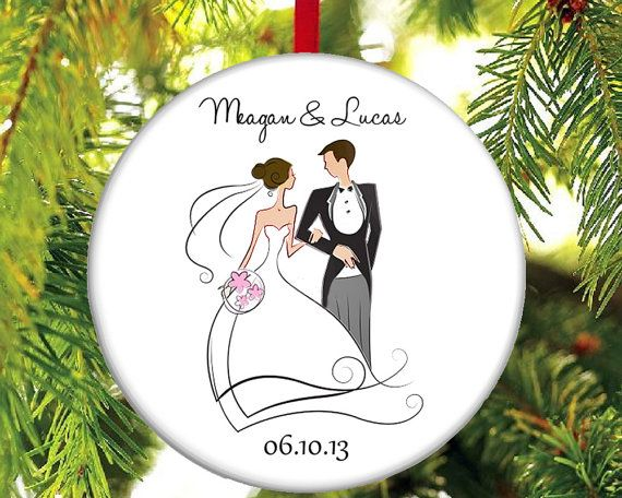 Newlywed Christmas Ornament Just Married by TheOneStopButtonShop