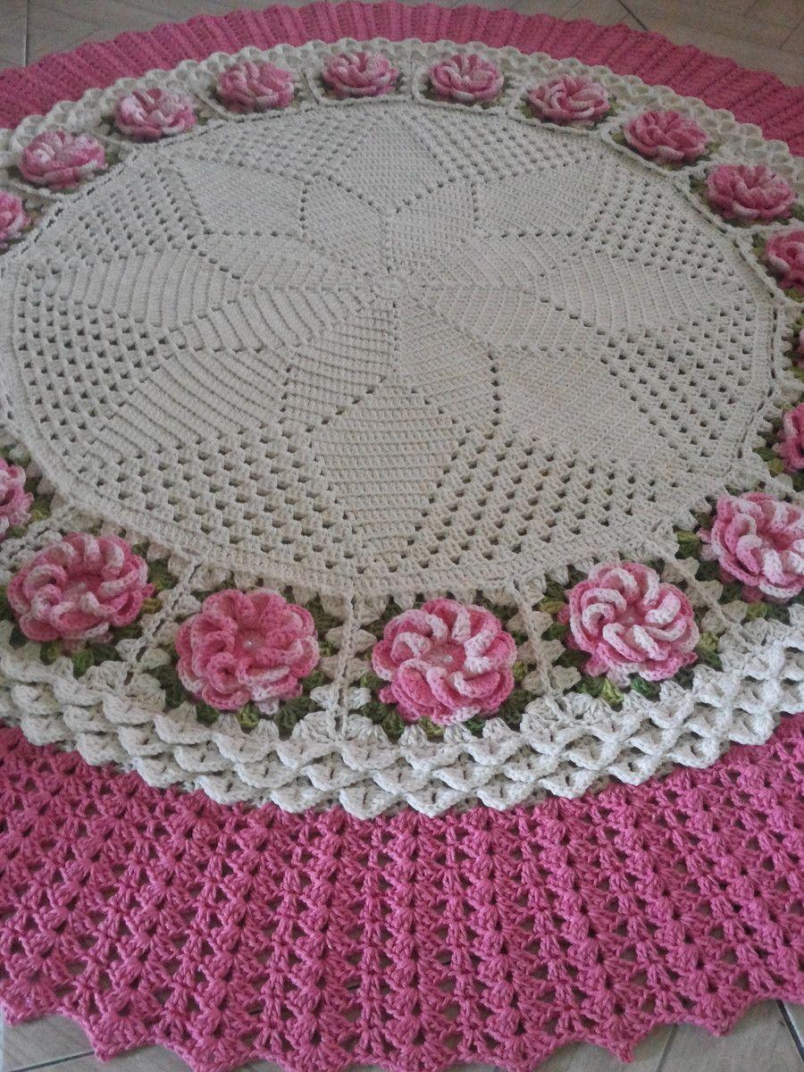 Tapete De Sala Redondo Todo Confeccionado Em Barbante De Espessura  -> Tapete Para Sala Croche