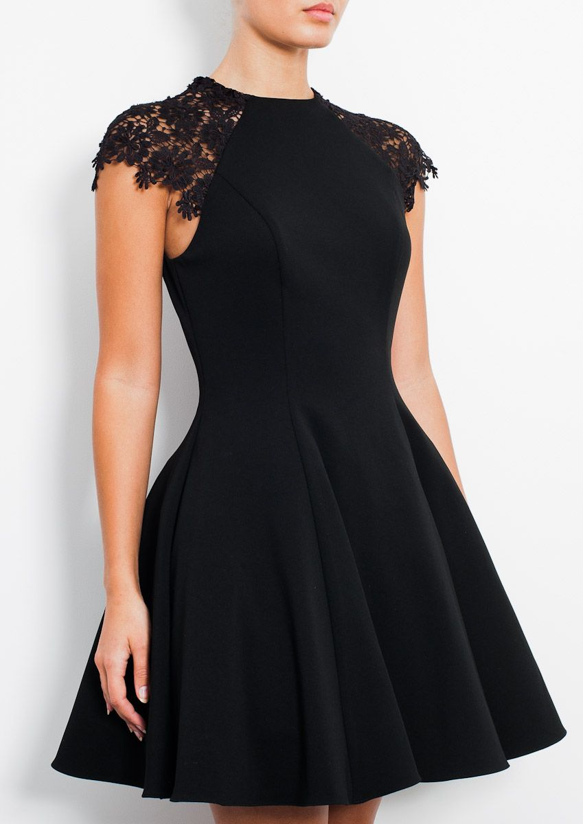 Simple black dress with lace stunning my kind of fashion