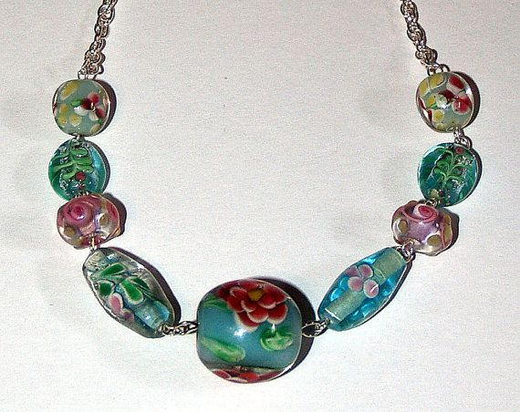 Spring Inspired Lampwork Bead Necklace by SodapopDesigns on Etsy, $15.00