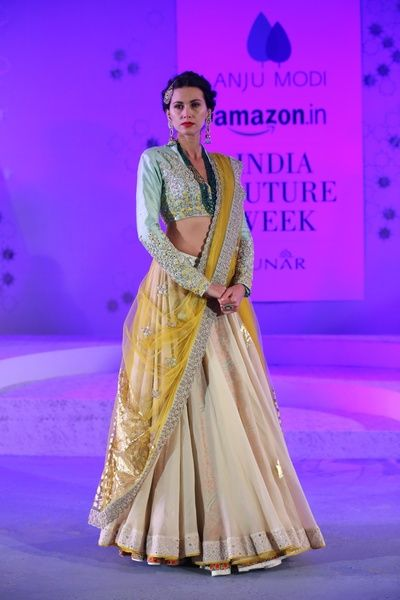 Anju Modi Amazon India Couture Week Lehenga Bridal Collection 2015 Sky Blue Yellow White High Neck Blouse Full Sleeves Drape Plain