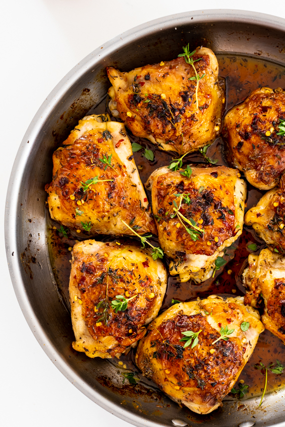 Easy Hot Honey Chicken Thighs Simply Delicious Recipe Easy Potato Recipes Honey Chicken Honey Chicken Thighs