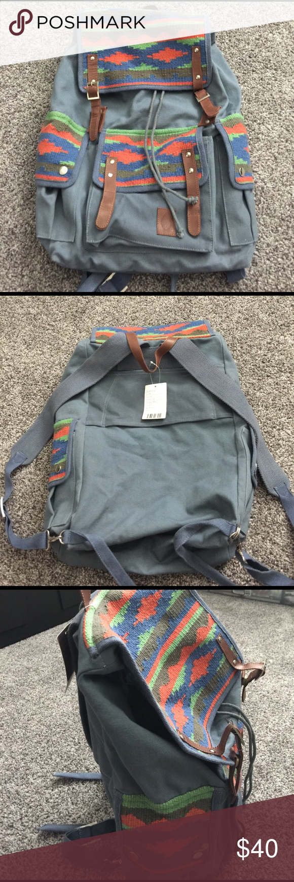 NWT Urban Outfitters urban style backpack  CLassic Urban Backpack with Pendleton Woven design / Canvas Dusty Blue color// Very Spacious // Drawstring and Snap leather strap closures // 3 front pockets // make an offer  Urban Outfitters Bags Backpacks