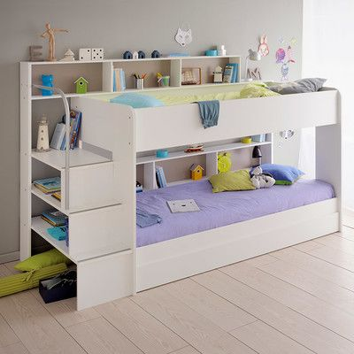 Letto A Castello Twins.Parisot Bibop 2 Twin Over Twin Bunk Bed With Trundle Finish
