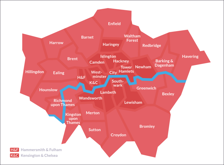 Map Of Greater London And Its Borough Boundaries Labelled With