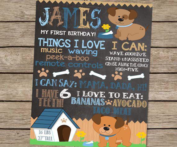 First Birthday Party Invitation Boy Chalkboard: First Birthday Chalkboard Puppy Dog Birthday By