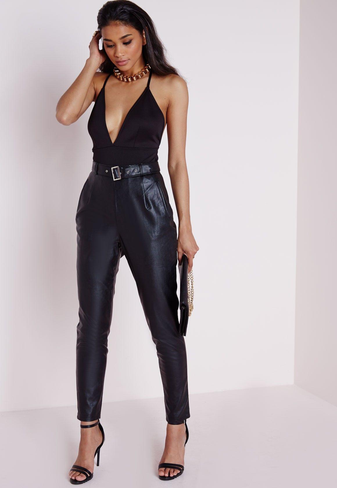 Missguided - Cross Back Plunge Bodysuit Black   Black ...