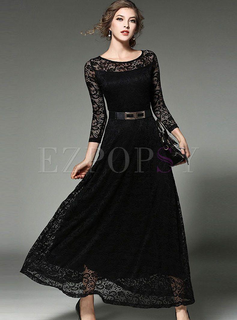 Lace hollow out belt long sleeve maxi dress pinterest long