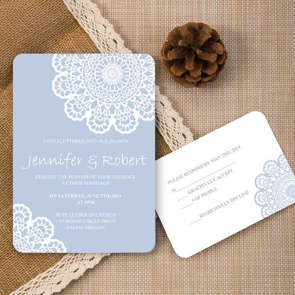 Elegant Inexpensive Wedding Invitations: Elegant Cheap Pastel Blue Lace Spring Ticket Shape Wedding
