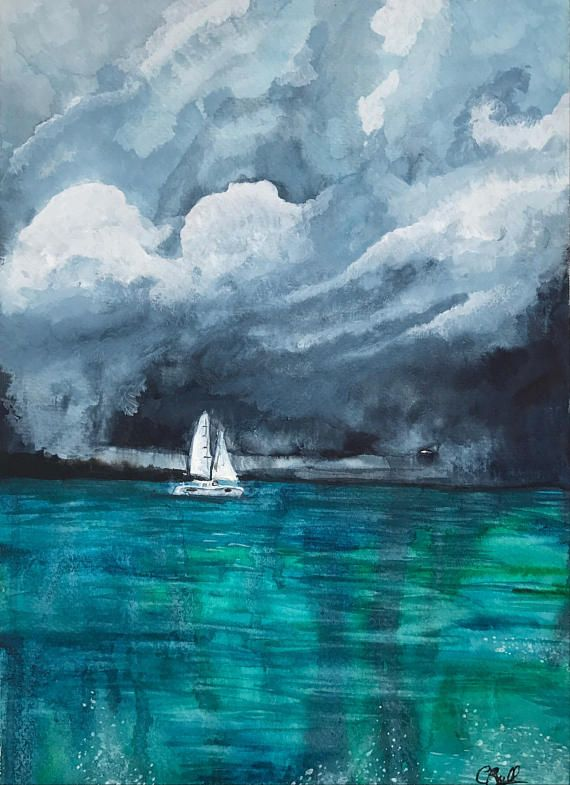Sailing Stormy Seas Ocean Watercolour Boat Cloud Painting Boho